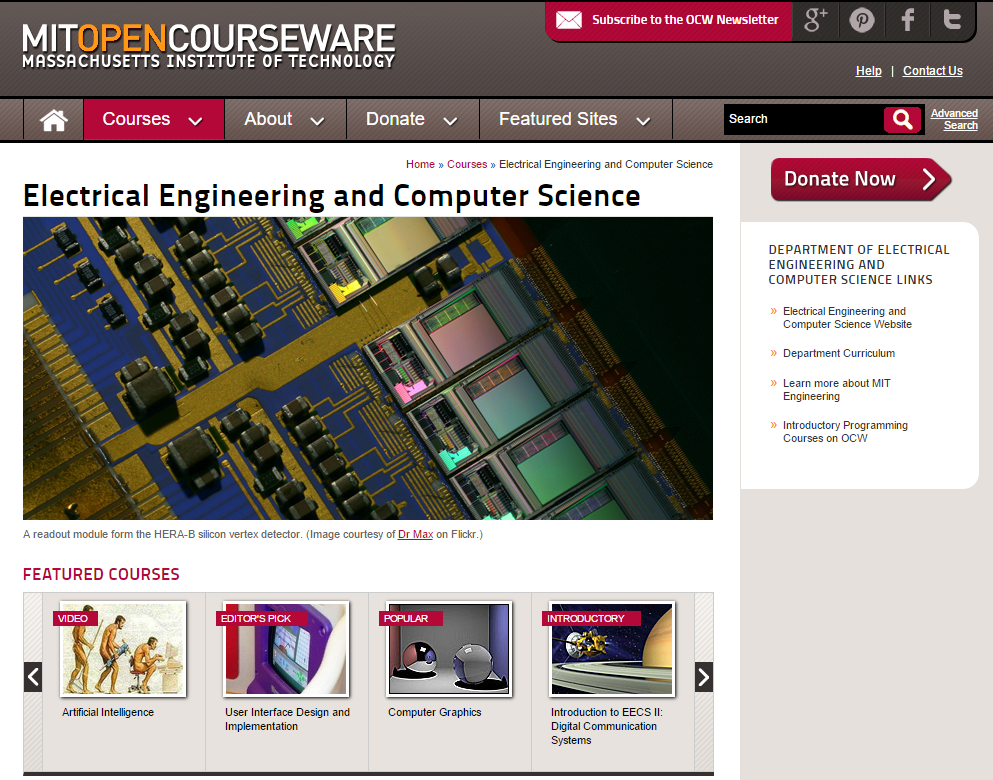 mit opencourseware computer science algorithms Bioengineering at mit is represented by the diverse curricula offered by most departments in the school of engineering this course samples the wide variety of bioengineering options for students who plan to major in one of the undergraduate engineering degree programs.